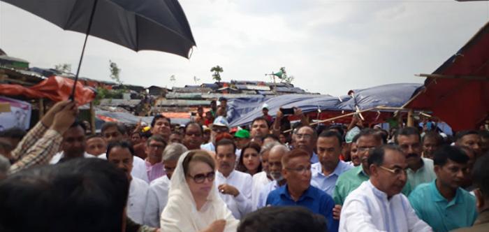 রোহিঙ্গাদের ফিরিয়ে নিতে মিয়ানমারকে আহ্বান জানালেন খালেদা জিয়াও
