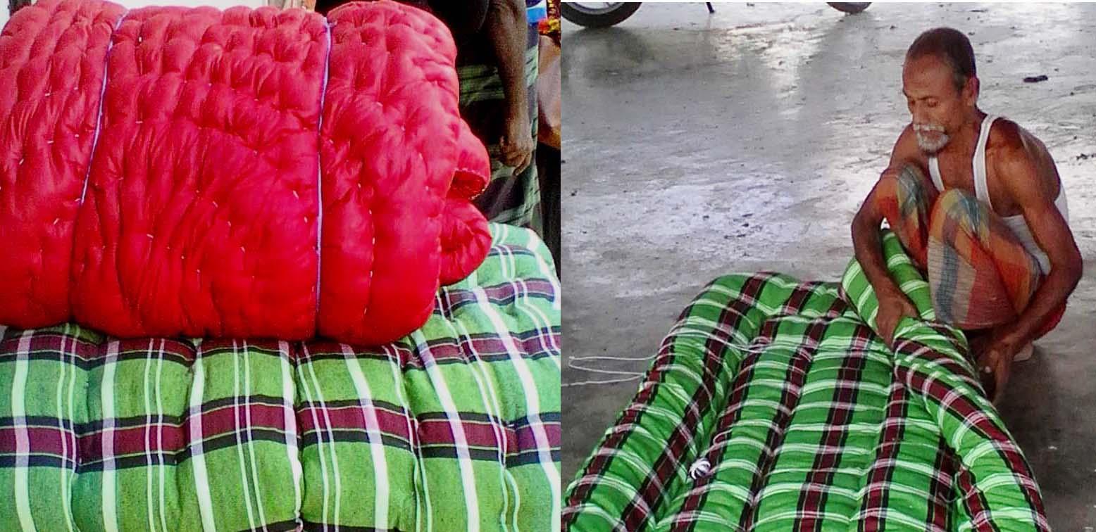 কপিলমুনিতে লেপতোষক তৈরিতে ব্যস্ত কারিগর